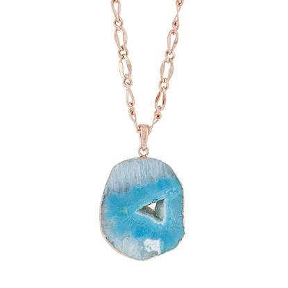 Picture of Blue Shadows - Natural Stone Necklace with Rose Gold Chain and Swarovski Crystal